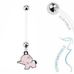 Fako Bijoux® - Zwangerschapspiercing - Olifantje - Roze