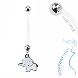 Fako Bijoux® - Zwangerschapspiercing - Olifantje - Wit