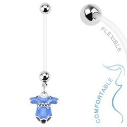 Fako Bijoux® - Zwangerschapspiercing - Rompertje - Blauw