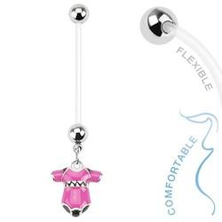 Fako Bijoux® - Zwangerschapspiercing - Rompertje - Roze
