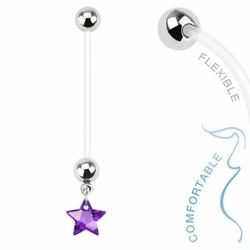 Fako Bijoux® - Zwangerschapspiercing - Ster - Paars