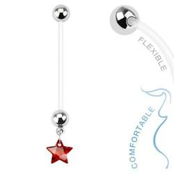Fako Bijoux® - Zwangerschapspiercing - Ster - Rood