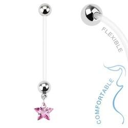 Fako Bijoux® - Zwangerschapspiercing - Ster - Roze