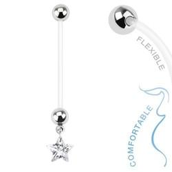 Fako Bijoux® - Zwangerschapspiercing - Ster - Wit