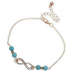 Fako Bijoux® - Enkelbandje - Infinity Turquoise Duo - Goudkleurig