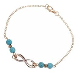 Fako Bijoux® - Enkelbandje - Infinity Turquoise Duo - Goudkleurig - 25cm