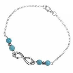 Fako Bijoux® - Enkelbandje - Infinity Turquoise Duo - Zilverkleurig - 25cm