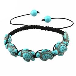 Fako Bijoux® - Enkelbandje - Schildpadjes - Turquoise