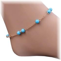 Fako Bijoux® - Enkelbandje -Balletjes Lichtblauw - Goudkleurig