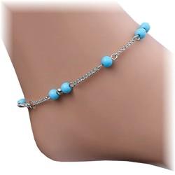 Fako Bijoux® - Enkelbandje -Balletjes Lichtblauw - Zilverkleurig