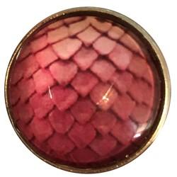Fako Bijoux® - Click Button - Glas - Schubben Roze