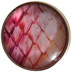 Fako Bijoux® - Click Button - Glas - Schubben Roze/Wit