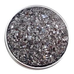Fako Bijoux® - Click Button - Glitter - Zilver