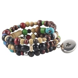 Fako Bijoux® - Armband - Click Buttons - Hout Verend
