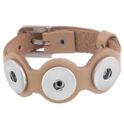 Fako Bijoux® - Armband - Click Buttons - Leder Trio Bal - Beige