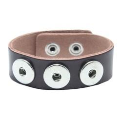 Fako Bijoux® - Armband Voor Click Buttons - Leder Trio - Donkerbruin