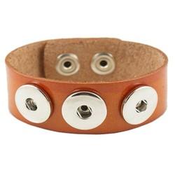 Fako Bijoux® - Armband Voor Click Buttons - Leder Trio - Lichtbruin