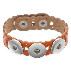 Fako Bijoux® - Armband Voor Click Buttons - Leder Harten - Oranje