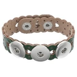 Fako Bijoux® - Armband Voor Click Buttons - Leder Harten - Donkergroen