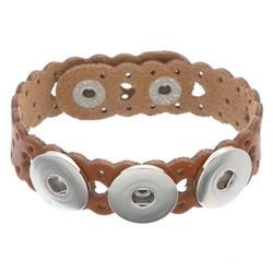 Fako Bijoux® - Armband Voor Click Buttons - Leder Harten - Lichtbruin