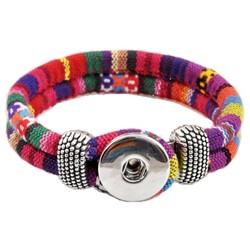 Fako Bijoux® - Armband Voor Click Buttons - Inka - Rood/Roze