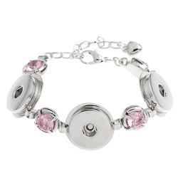 Fako Bijoux® - Armband Voor Click Buttons - Trio Kristal - Roze