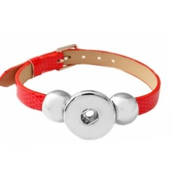 Fako Bijoux® - Armband Voor Click Buttons - Basic - Rood