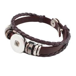 Fako Bijoux® - Armband Voor Click Buttons - Leder Ring - Bruin