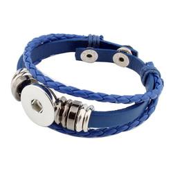 Fako Bijoux® - Armband Voor Click Buttons - Leder Ring - Blauw