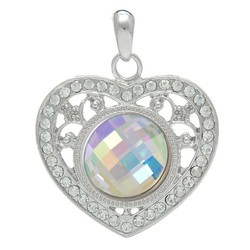 Fako Bijoux® - Kettinghanger - Click Buttons - Hart + Glas Multi