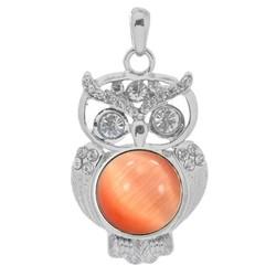 Fako Bijoux® - Kettinghanger - Click Buttons - Uil + Kattenoog Oranje