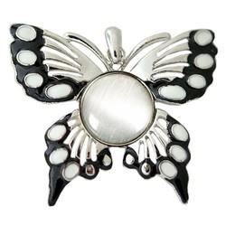 Fako Bijoux® - Kettinghanger - Click Buttons - Vlinder + Kattenoog Wit