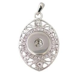 Fako Bijoux® - Kettinghanger Voor Click Buttons - Ovaal Strass