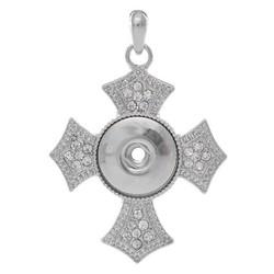 Fako Bijoux® - Kettinghanger Voor Click Buttons - Kruis Wit