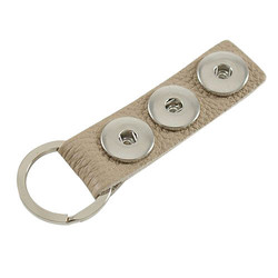 Fako Bijoux® - Sleutelhanger - Leder - Click Buttons - Beige