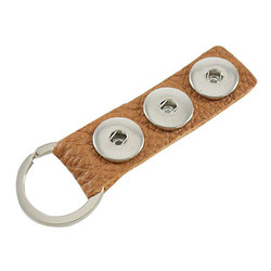 Fako Bijoux® - Sleutelhanger - Leder - Click Buttons - Bruin