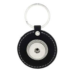 Fako Bijoux® - Sleutelhanger Voor Click Buttons - Leder Rond Deluxe Zwart