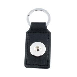 Fako Bijoux® - Sleutelhanger Voor Click Buttons - Leder Tag Zwart