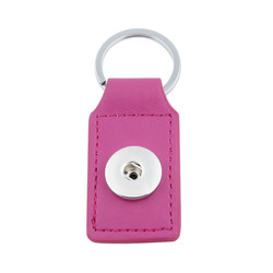 Fako Bijoux® - Sleutelhanger Voor Click Buttons - Leder Tag Fuchsia