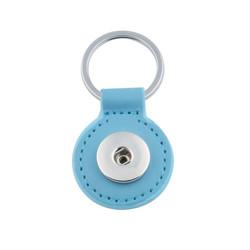 Fako Bijoux® - Sleutelhanger Voor Click Buttons - Leder Rond Lichtblauw
