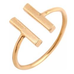 Fako Bijoux® - Ring - Dubbele Bar - Verstelbaar - Goudkleurig