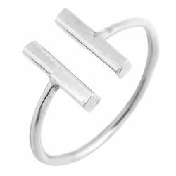 Fako Bijoux® - Ring - Dubbele Bar - Verstelbaar - Zilverkleurig