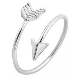 Fako Bijoux® - Ring - Pijl - Arrow - Verstelbaar - Zilverkleurig