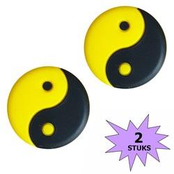 Fako Bijoux® - Tennisdemper - Yin Yang - Zwart/Geel- 2 Stuks