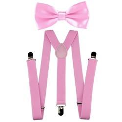 Fako Fashion® - Bretels Met Vlinderstrik - Effen - 100cm - Roze