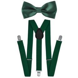 Fako Fashion® - Bretels Met Vlinderstrik - Effen - 100cm - Donkergroen