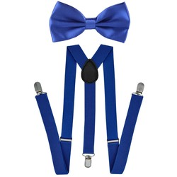 Fako Fashion® - Bretels Met Vlinderstrik - Effen - 100cm - Royal Blauw