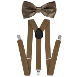 Fako Fashion® - Bretels Met Vlinderstrik - Effen - 100cm - Khaki