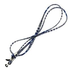Fako Bijoux® - Brillenkoord - Inka - 70cm - Donkerblauw/Wit
