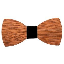 Fako Fashion® - Vlinderstrik - Vlinderdas - Hout - 12cm - Velours Zwart